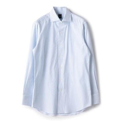 【シップス/SHIPS】 SD: 【MONTI社製生地】カラミ組織 ワンピースカラー ストライプ シャツ(ライトブルー)