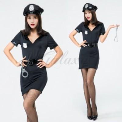 ハロウィン 警察 婦人警官 婦警 ワンピース ポリス 帽子付き 教官 制服 変装 仮装 コスプレ衣装 ps3503