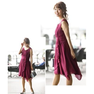 【大人におすすめ】ウエスト切替で細見え効果◎シフォンワンピースドレス (ワンピース)Dress