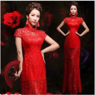 高級ウエディングドレス チャイナドレス 中国風ドレス花嫁 ドレス  パーティードレス【結婚式】【披露宴】【パーティー】 エンパイアドレス フリル ドレス