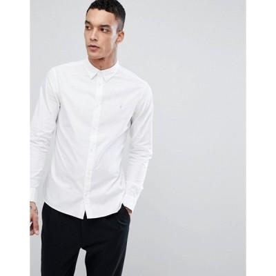 オールセインツ メンズ シャツ トップス AllSaints Redondo ramskull logo long sleeve shirt in white