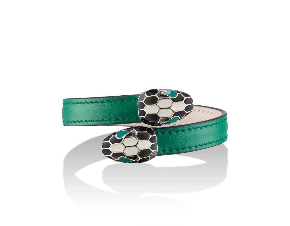SERPENTI FOREVER 祖母綠色小牛皮手環