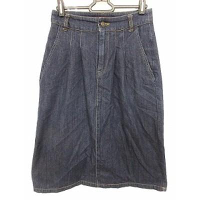 【中古】アーバンリサーチ URBAN RESEARCH スカート ひざ丈 台形 デニム 36 青 ブルー /AAO49 レディース