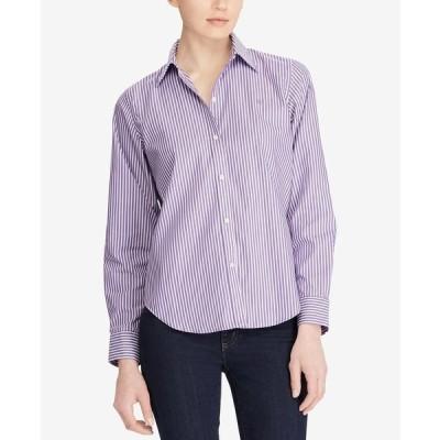 ラルフローレン カットソー トップス レディース Long-Sleeve Non-Iron Shirt, Regular & Petite Sizes Lavender/White
