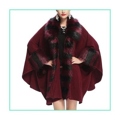 KAXIDY Ladies Womens Faux Fur Trim Shawl Coat Overcoat Fashion Cape Poncho Coat Jacket (Wine-red)並行輸入品