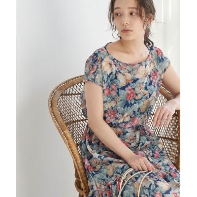 ロペピクニック/【リンクコーデ】ヴィンテージライクフルーツティアードワンピース/ネイビー系/40