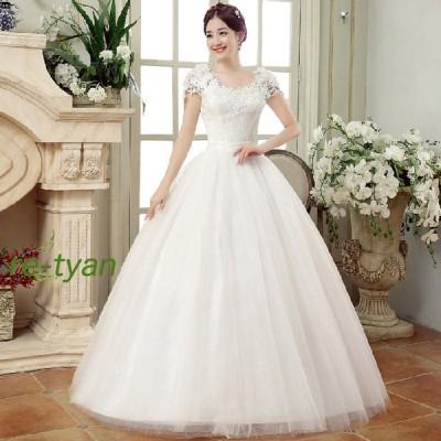 ウエディングドレスaラインロングドレス 結婚式花嫁二次会白フォーマルドレブライダル レースパーティードレスプリンセスライン大きいサイズオフショルダー