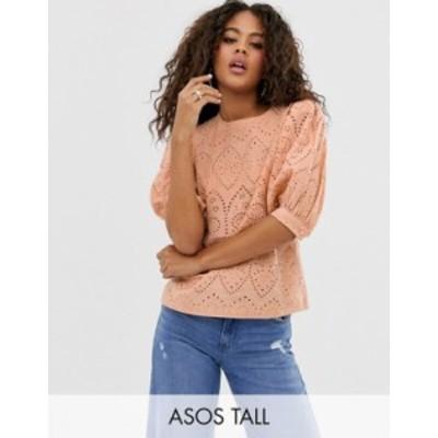エイソス レディース シャツ トップス ASOS DESIGN Tall broderie short sleeve top with volume sleeves Peach