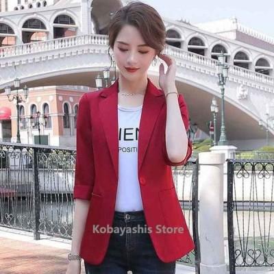 ピンクテーラードジャケットレディース通勤OLオフィススーツジャケット7分袖夏ジャケットオリーブワイン赤サマージャケット