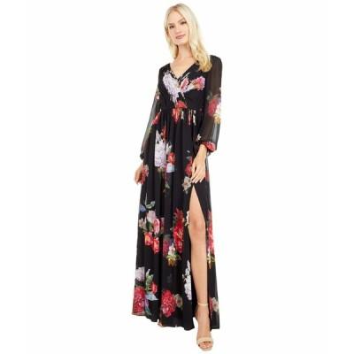 アドリアナ パペル ワンピース トップス レディース Long Sleeve Chiffon Shirred Gown Black Multi