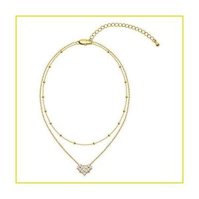 送料無料 ネックレス Howoo Layered Necklace 14K Gold Plated with Dainty CZ Heart Pendant Gold Layered Necklace for Women