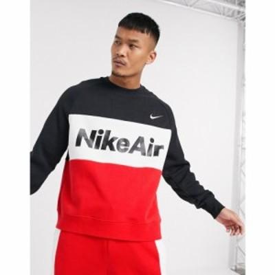 ナイキ Nike メンズ スウェット・トレーナー トップス Air colourblock crew neck sweat in red/black レッド/ブラック