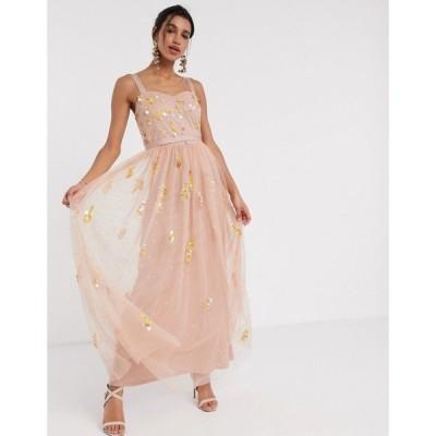 フロックアンドフリル Frock and Frill レディース ワンピース マキシ丈 Frock & Frill sequin tulle maxi dress in blush ベビーピンク