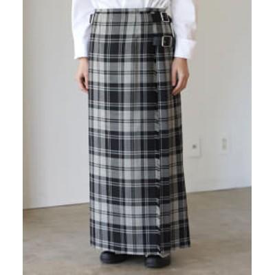 <WOMEN>O'NEIL OF DUBLIN / サイドベルト チェック柄 ロングキルトスカート