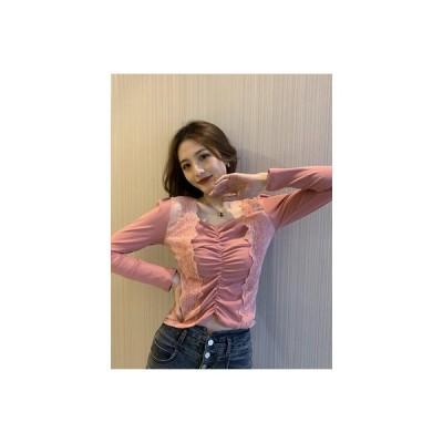 【送料無料】西洋風 ステッチレース ボトムシャツ トップス 女 春服 韓国風 着やせ | 346770_A64626-2664766