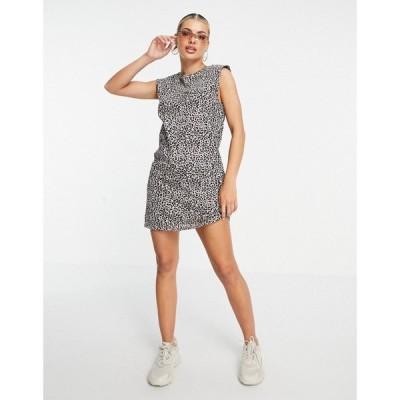ブレイブソウル Brave Soul レディース ワンピース ノースリーブ Tシャツワンピース Theo Sleeveless T-Shirt Dress With Shoulder Pads In Leopard Print