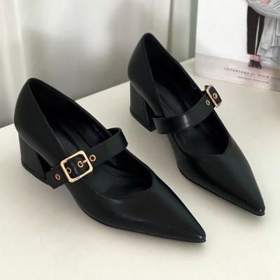 パンプス ポインテッドトゥ フロントストラップ ベルト チャンキーヒール 太ヒール ミドルヒール レディース 靴 婦人靴 ブラック 黒 歩きやすい 痛くない