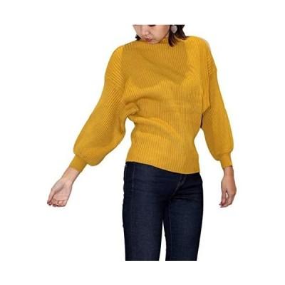 [ニブンノイチスタイル] 1/2style バルーン 袖 無地 タートル かわいい ニット セーター レディース (からし Free Size)