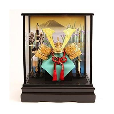 五月人形 コンパクト ケース飾り《富士に菖蒲 金色大鍬形兜飾り》爽やかなグリーンの袱紗がおしゃれな兜飾り