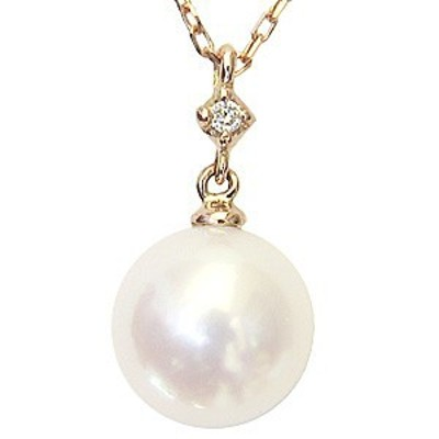 ネックレスペンダント あこや真珠パール K18ピンクゴールドネックレス ダイヤモンド