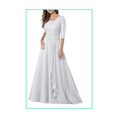 PearlBridal Modest Lace Half Sleeves Mother of Bride Dresses Chiffon Ruffles Long Formal Evening Gown White Size 0並行輸入品