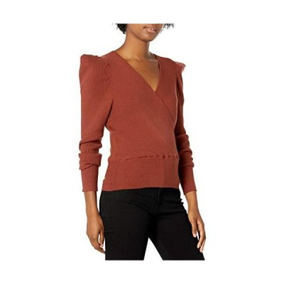 ASTR the label Women's Suki Pleated Sleave Surplice Wrap Knit Sweater, Burn