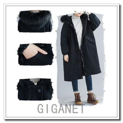 デニムコートフード付きロングレディースデニム冬40代アウター防寒チェスターコートロングジャケット暖かい体型カバー黒大きいサイズ30代50代