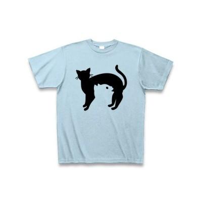 黒猫と白猫 Tシャツ(ライトブルー)