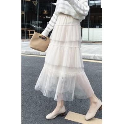 プリーツスカート レイヤードスカート ハイウェストスカート ミモレ丈 大きいサイズ ゆったり 透け感 春夏 黒 白 アプリコット ブルー 大