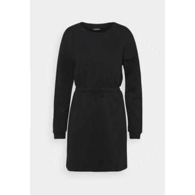 レディース ドレス sweat mini drawstring waist dress - Day dress - black