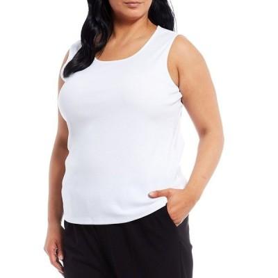アリソンダーレイ レディース Tシャツ トップス Plus Size Knit Scoop Neck Sleeveless Tank White
