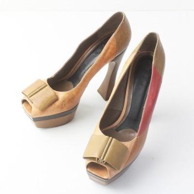 MARNI マルニ リボン 配色 レザー パンプス///ブラウン系 靴 くつ シューズ 2400011558930