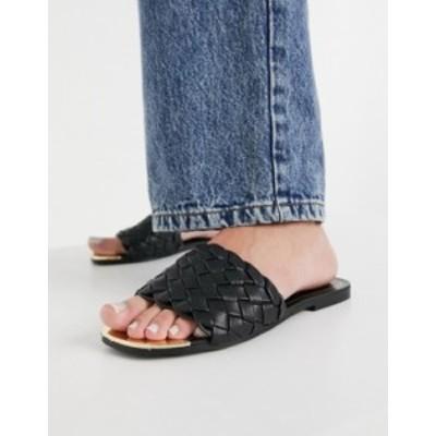 リバーアイランド レディース サンダル シューズ River Island woven flat sandals in black Black