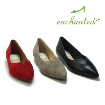靴 enchanted エンチャンテッド レディース Vカット フラット パンプス 17205