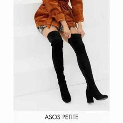 エイソス ブーツ Petite Kadi heeled over the knee boots Black