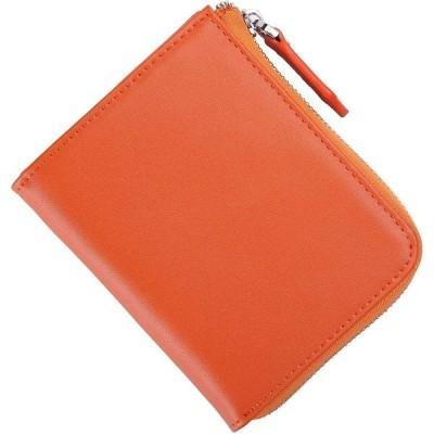 財布 L字ファスナー 薄い財布 小銭入れ コインケース 小さい財布 本革 (オレンジ)