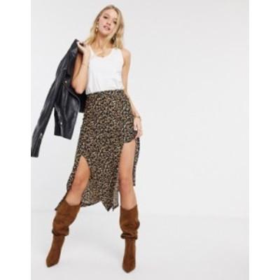 リバーアイランド レディース スカート ボトムス River Island leopard print split midi skirt Cream