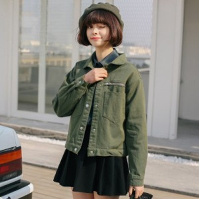 ショート丈デニム風ジャケット 秋 アウター 重ね着 カジュアル オシャレ 大人 全二種類 ワンサイズ