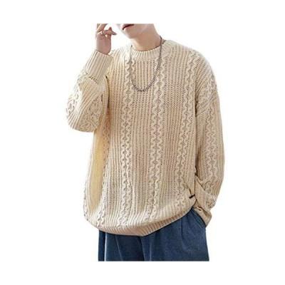 BEIBANGメンズ セーター ゆったり ニットセーター 長袖 クルーネック ケーブル編み 無地 おしゃれ カットソー 防
