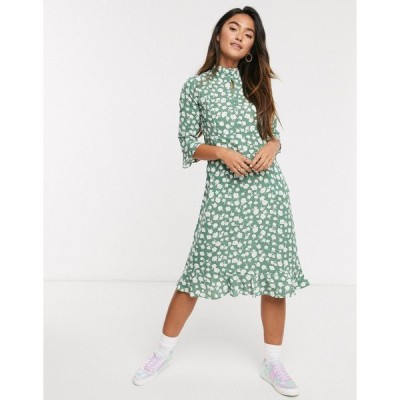 QEDロンドン レディース ワンピース トップス QED London frill hem midi dress in sage floral Sage