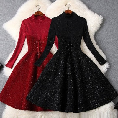 送料無料 パーティー 結婚式 二次会 披露宴 オシャレ ラメ入り ウエスト編み上げ ドレス ワンピース