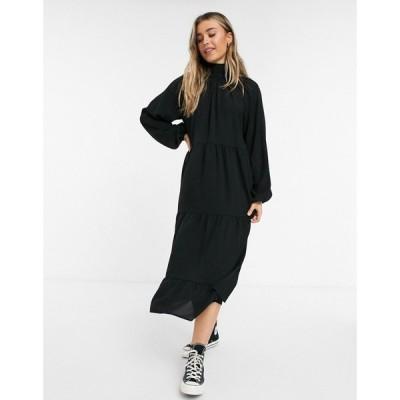 ローラ メイ Lola May レディース ワンピース マキシ丈 ワンピース・ドレス trapeze maxi dress with ruffle details in black ブラック