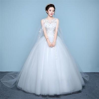ウエディングドレス 安い 激安 aライン 白 格安 袖あり 編み上げ レース 花嫁 結婚式 パーティードレス 二次会 ロングドレス イブニングドレス 安い-P853