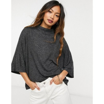 マンゴ Mango レディース Tシャツ トップス High Neck Batwing T-Shirt In Charcoal グレー