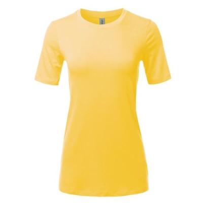 レディース 衣類 トップス A2Y Women's Basic Solid Premium Cotton Short Sleeve Crew Neck T Shirt Tee Tops Yellow S ブラウス&シャツ