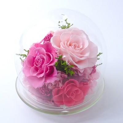 【ギフト】[ベル・フルール]ガラスドームL ピンク フラワーギフト