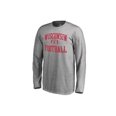 大学 NCAA ファナティクス ブランド Fanatics Branded Wisconsin Badgers Youth Ash Neutral Zone Long Sleeve T-Shirt