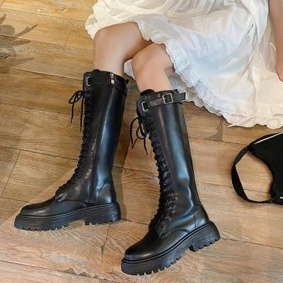 ブーツ レディース 秋冬 ジョッキーブーツ 厚底靴レザーシューズ ピンヒール 黒 ラウンドトゥブーツ ウエスタンブーツ 歩きやすい カジュアル通勤通学