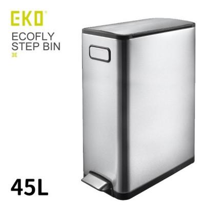 EKO エコフライ ステップビン 45L(フタ付/ステンレス/ゴミ箱/両開き/バタフライ/蓋/ダストボックス/ペダル付/角型/屋内用/ごみ箱/おしゃれ/ステンレス製) 1-2W