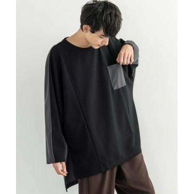 (Rocky Monroe/ロッキーモンロー)ロンT Tシャツ カットソー プルオーバー メンズ 長袖 シンプル 無地 きれいめ カジュアル ビッグシルエット 切替 バックロング ドルマンスリーブ リラック/ユニセックス ブラック